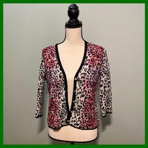 Chico's Fuchsia Leopard Print 3/4 Sleeve Cardigan